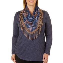 OneWorld Plus Heathered Ruched Side & Scarf Top