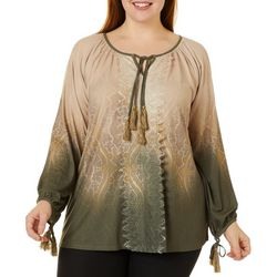 OneWorld Plus Trembling Tapestry Ombre Long Sleeve Top