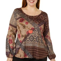 OneWorld Plus Patchwork Print Long Sleeve Top