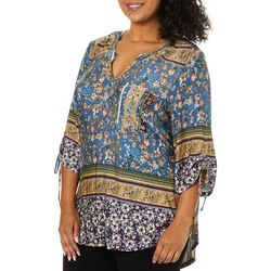 OneWorld Plus Mixed Floral Tie Sleeve Top