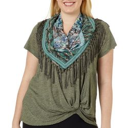 OneWorld Plus Scarf & Striped Twist Front Top