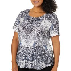 OneWorld Plus Embellished Paisley Damask Top