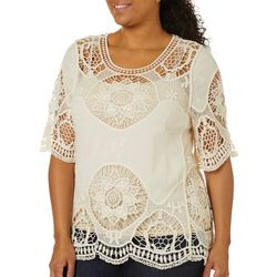 Farmers Market Plus Embroidered Crochet Top