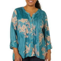 OneWorld Plus Paisley Lace Panel Button Down Top