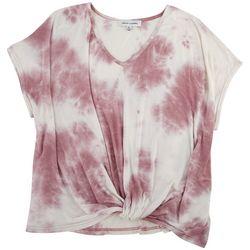 GRACE + KARMA Plus Tie Dye Front Twist Short Sleeve Top