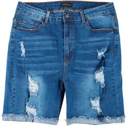 Between Us Apparel Plus 7'' Destructed Denim Bermuda Shorts