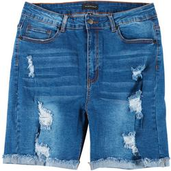 Plus 7'' Destructed Denim Bermuda Shorts