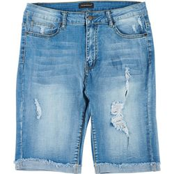 Between Us Apparel Plus 9'' Destructed Denim Bermuda Shorts