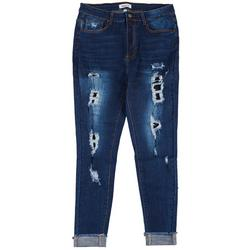 Between Us Womens Plus Ripped Cuff Jeans