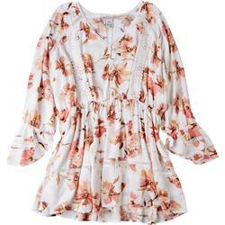 Plus Crochet Flowery Long Sleeve Top