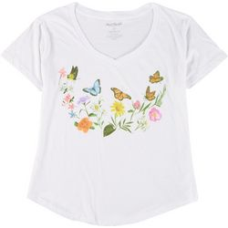Stunner Plus Butterfly & Floral Round Neck T-Shirt