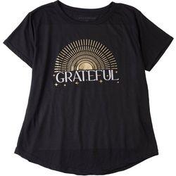 Ana Cabana Plus Gold Sun Print and Grateful Slogan T-Shirt