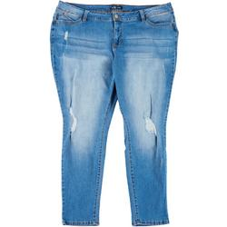 Womens Plus Skinny Ripped Jeans