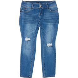 Royalty by YMI Womens Plus 3-Button Repreve Distressed Jeans
