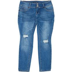 Womens Plus 3-Button Repreve Distressed Jeans