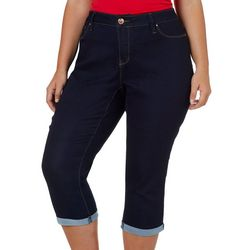 Royalty by YMI Juniors Plus Denim Roll Cuff Capris