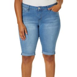 Royalty by YMI Juniors Plus Denim Roll Cuff Bermuda Shorts