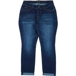 Plus Mid Rise Straight Cuffed Jeans