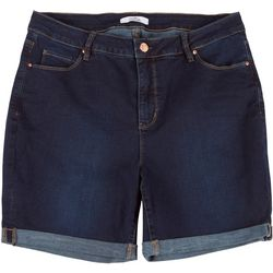 Royalty by YMI Plus No Muffin Roll Cuff Denim Shorts