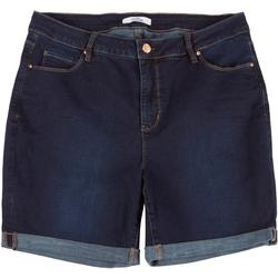 Plus No Muffin Roll Cuff Denim Shorts