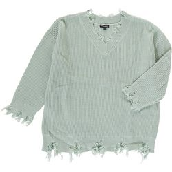 Tint & Shadow Womens Plus Solid Distressed Sweater