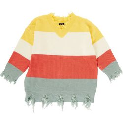 Tint & Shadow Womens Plus Distressed Colorblock Sweater