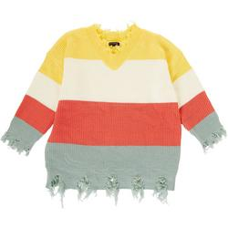 Womens Plus Distressed Colorblock Sweater