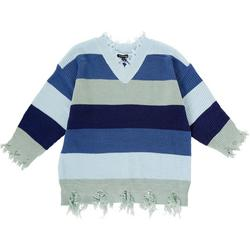 Womens Plus Distressed Striped Sweater