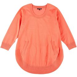 Womens Plus Solid Pocketed Sweater