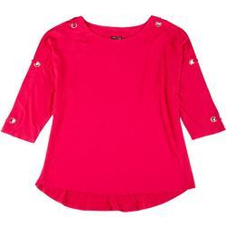 Womens Plus Embellished 3/4 Sleeve Top