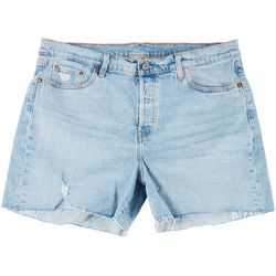 Levi's Plus 501 High Rise Cut Off Hem Denim Shorts