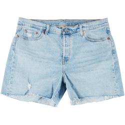 Plus 501 High Rise Cut Off Hem Denim Shorts