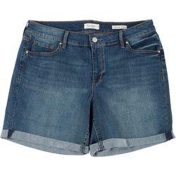 Jessica Simpson Plus Rolled Cuff Denim Midi Shorts