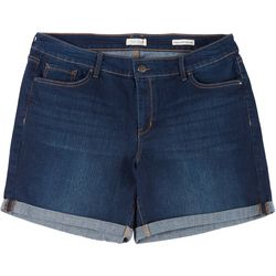 Jessica Simpson Plus Rolled Cuff Denim Midi Shorts