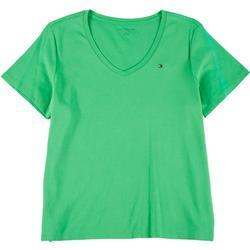 Plus Solid V-Neck T-Shirt
