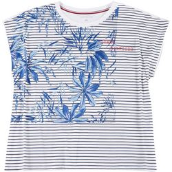 Tommy Hilfiger Womens Plus Striped Palms Logo Top