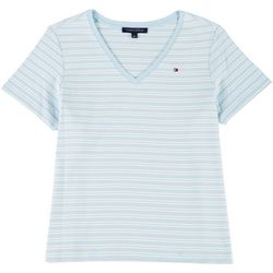 Tommy Hilfiger Womens Plus Striped Logo Shirt