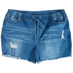 YMI Plus Frayed Hem Drawstring Shorts
