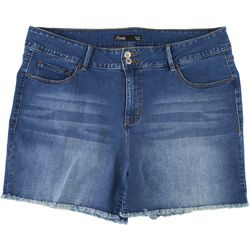Royalty by YMI Plus Hide Your Muffin Top Fringe Denim Shorts