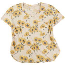 Tru Self Plus Kindness Sunflower V Neck Tshirt