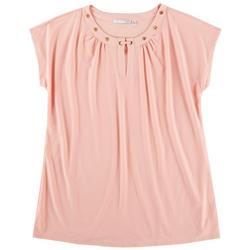 Plus Solid Emellished Neck Detail Sleeveless Top