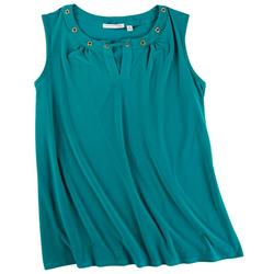 Plus Solid Color Hole Neck Detail Sleeveless Top
