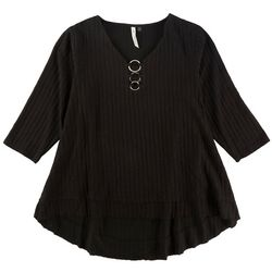 NY Collection Plus Solid Ring Placket Neck Top