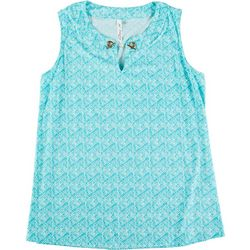 NY Collection Plus All-Over Flower Tile Sleeveless Top