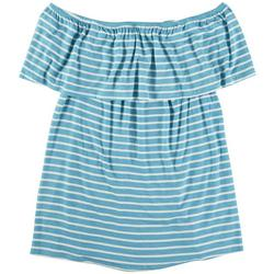 Plus Striped Off The Shoulder Top