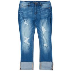 Plus Distressed Denim Wide Cuff Jeans