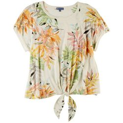 Democracy Womens Floral Front Tie Top