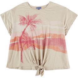 Womens Tropics Tie Front Short Sleeve Top