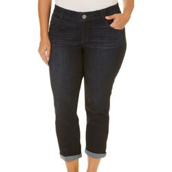 Plus Ab-Solution Roll Cuff Cropped Denim Jeans