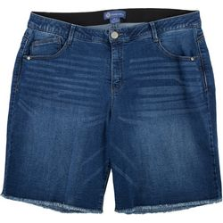 Democracy Plus Frayed Hem Medium Wash Bermuda Shorts